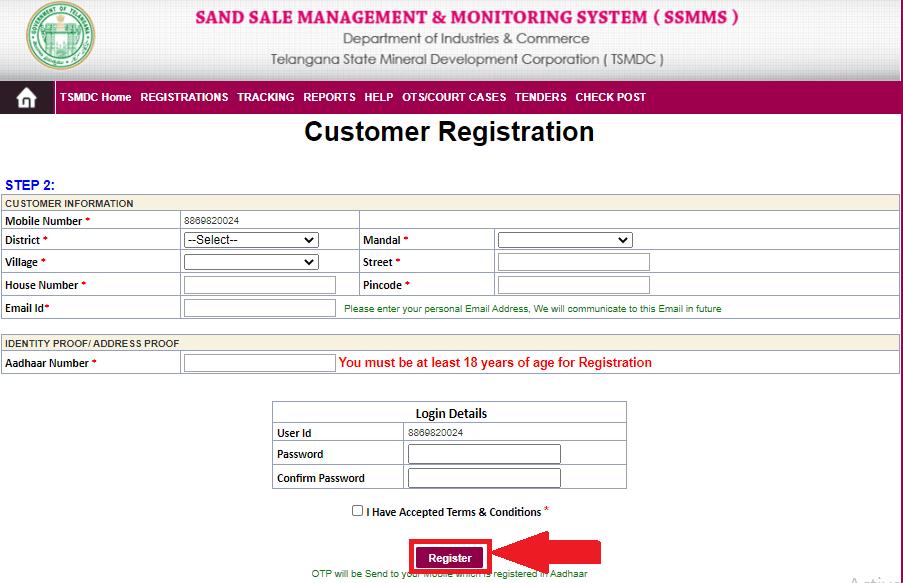 SSMMS_Login_registration_online_sand_booking_in_Telangana