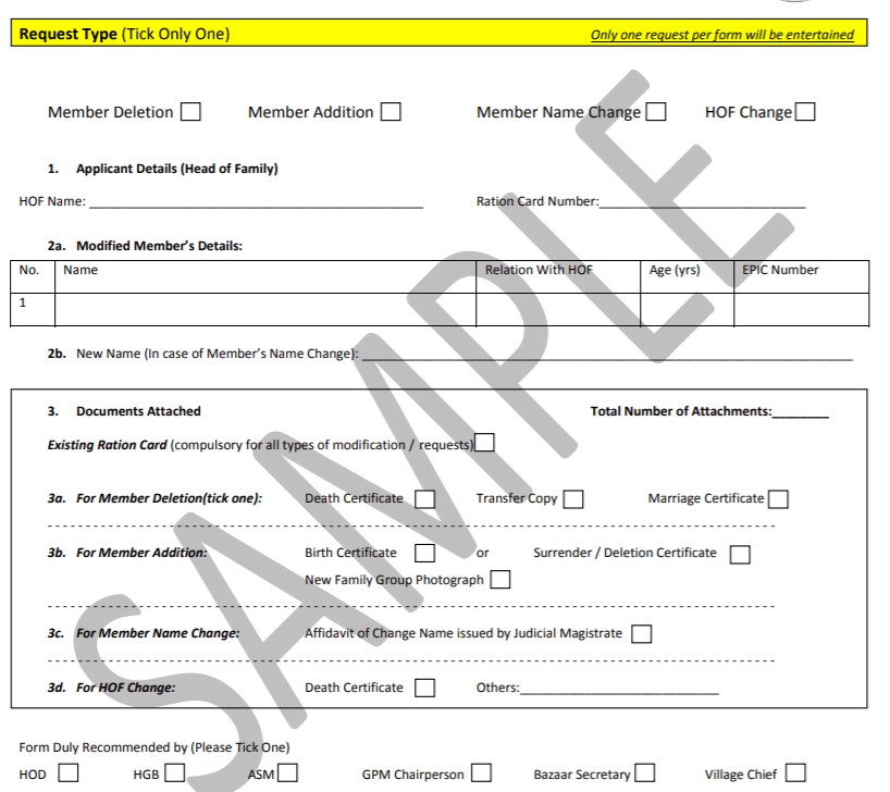 modification form for AP ration card