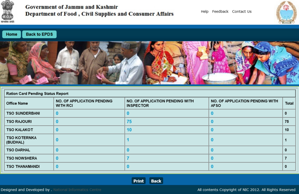J&K Ration Card Application status