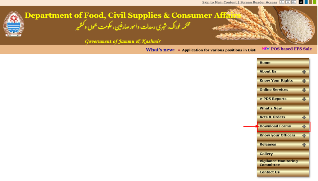 Download ration card form