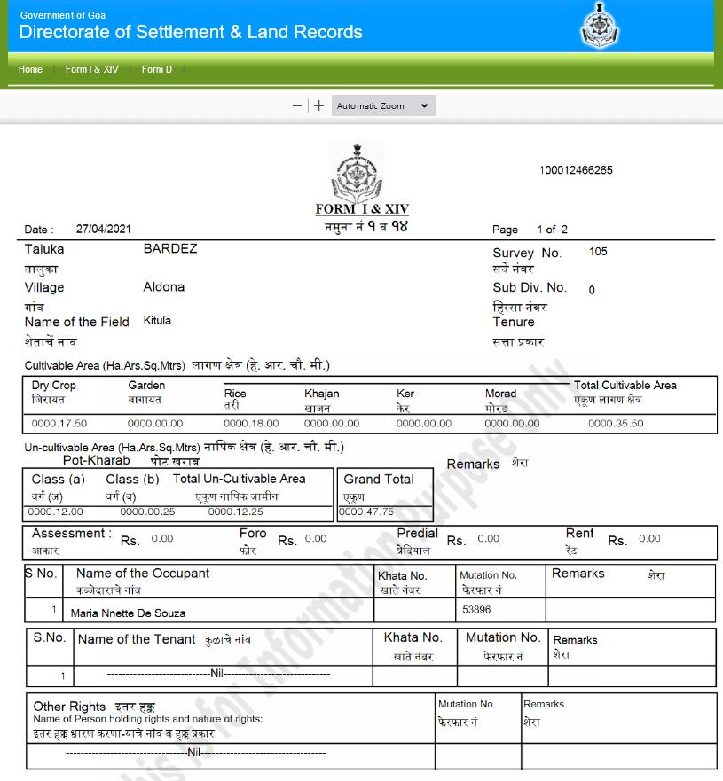 Goa Land Records Form Details PDF