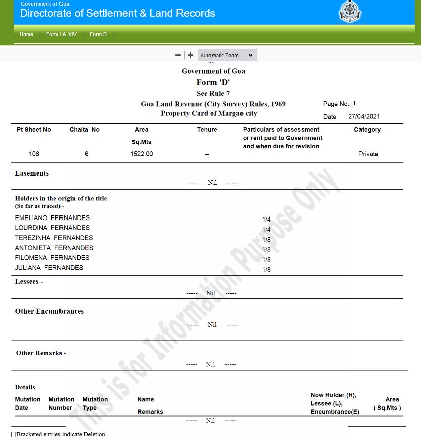 Goa Land Records Form D Pdf