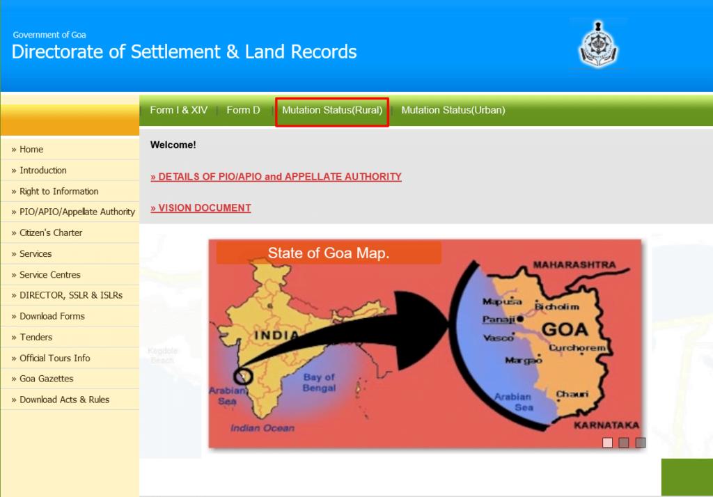Goa Land Records Mutation rural