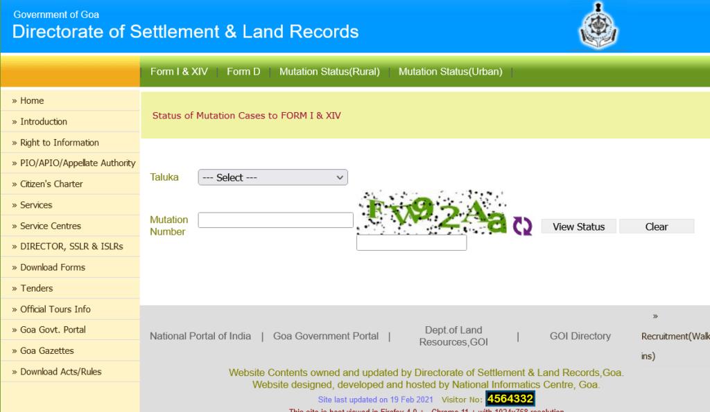 Goa Land Records Mutation rural details