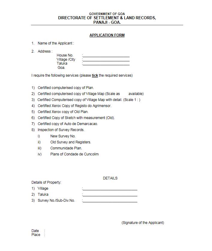 goa land records Services Form 1