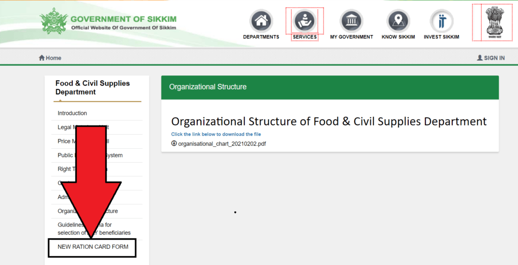 Sikkim Ration Card. form search