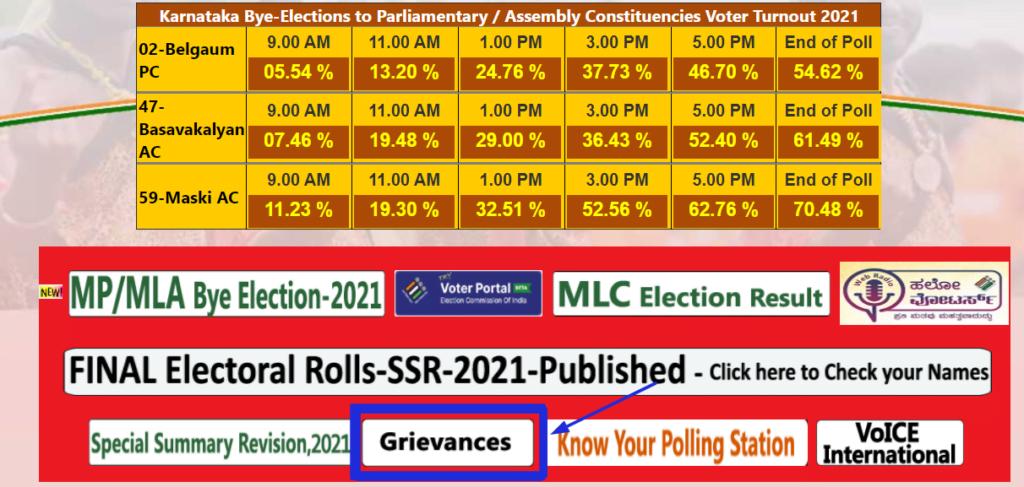 Karnataka voter list grievance link