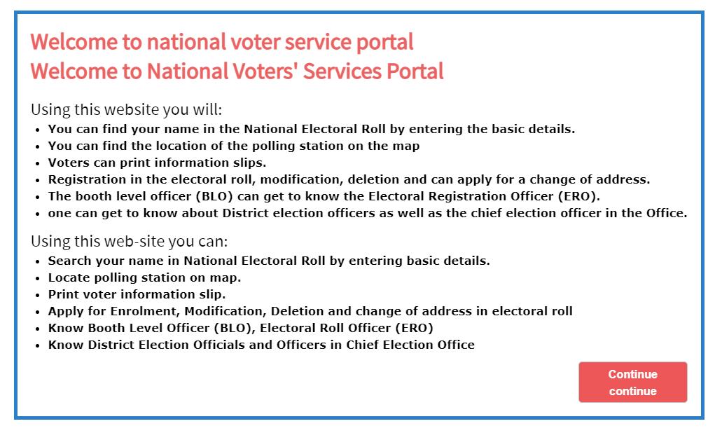 Karnataka voter list instruction