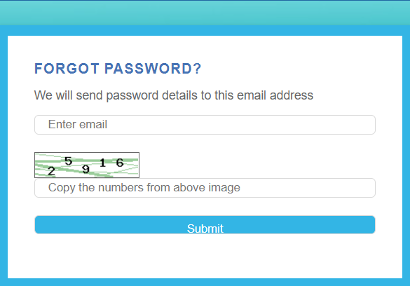 forgot password box