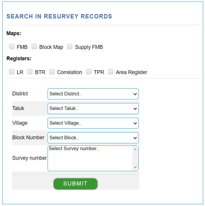 search file in resurvey records